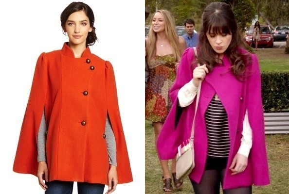 Zooey Deschanel&39s Pink Cape on &39New Girl&39 - TV Fashion Roundup