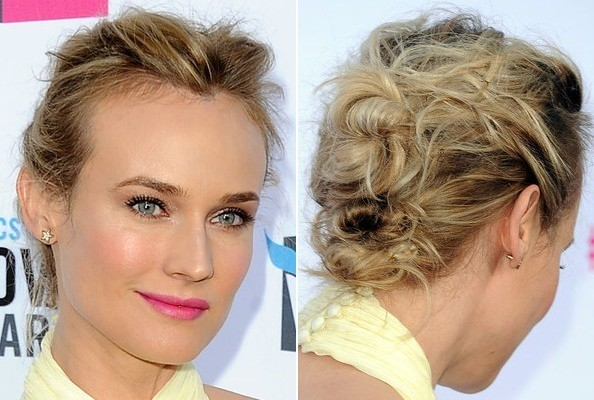 Diane Kruger S Textured Bobby Pinned Updo Do It Yourself How To