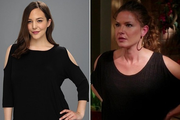 A Black Cold-Shoulder Top Like Alicia Lagano's on 'The Client List'