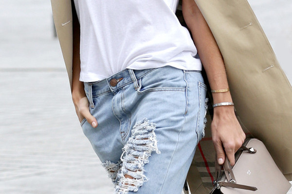 Celebs Heart Distressed Denim