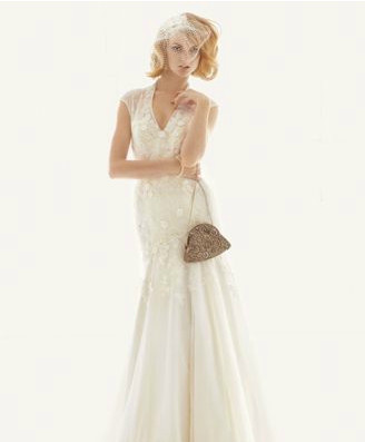 Melissa sweet cap sleeve fit and flare lace gown 150 for Melissa sweet short wedding dress