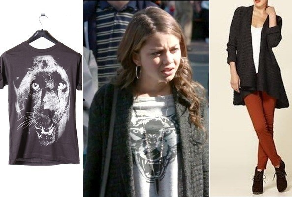 Sarah Hyland's Graphic Tee and Cardigan on 'Modern Family'