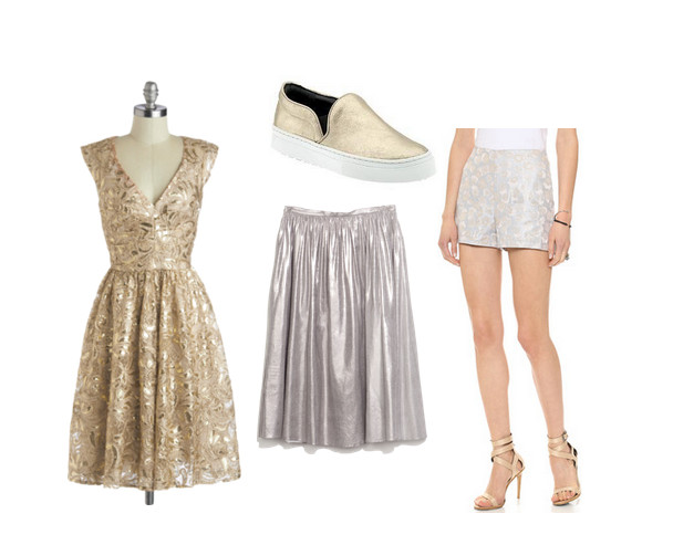 "Twinkling at Twilight Dress, $170, at <a href=""http://www.modcloth.com/shop/dresses/twinkling-at-twilight-dress-in-champagne"">modcloth.com</a>; <strong>Schutz</strong> Amisha Sneaker, $160, at <a href=""http://piperlime.gap.com/browse/product.do?vid=1&pid=238176042"">piperlime.com</a>; <strong>Zara</strong> Silver Full Midi Skirt, $60, at <a href=""http://www.zara.com/us/en/collection-aw14/woman/skirts/silver-full-midi-skirt-c269188p2035536.html"">zara.com</a>; <strong>JOA</strong> Allison&squot;s Shorts, $59, at <a href=""http://www.shopbop.com/allisons-shorts-joa/vp/v=1/1544080771.htm?fm=search-viewall-shopbysize"">shopbop.com</a>"