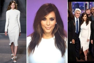 Kim Kardashian's White Asymmetrical Dress on 'The Tonight Show with Jay Leno'