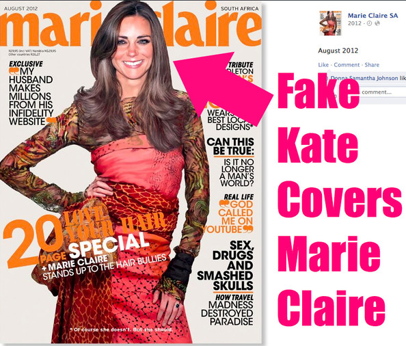 A Fake Kate Middleton Covers Marie Claire South Africa's August 2012 Issue