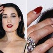 Dita Von Teese's Red Stiletto Half-Moon Manicure