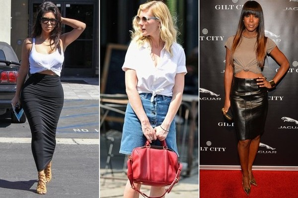 This Small Styling Trick Takes a Tee and Pencil Skirt Combo to the Next Level