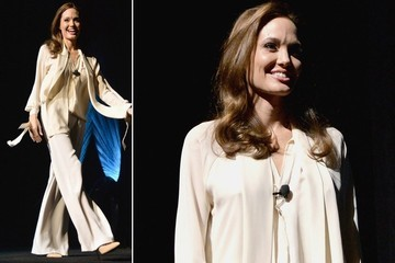 Angelina Jolie's Flowing Off-White Pantsuit