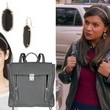 Mindy Kaling's Chain Headband, Black Drop Earrings and Gray Backpack on 'The Mindy Project'