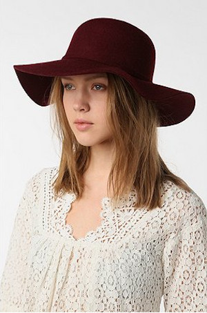 Deena & Ozzy Felt Floppy Hat in Burgundy