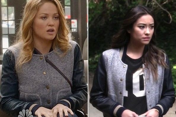 Seeing Double: Erika Christensen and Shay Mitchell Wear the Same Bomber Jacket on TV