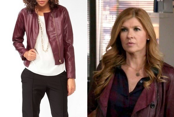 Connie Britton's Burgundy Biker Jacket on 'Nashville'