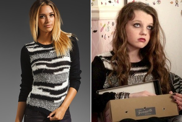 Stefania Owen's Black and White Nubby Sweater on 'The Carrie Diaries'