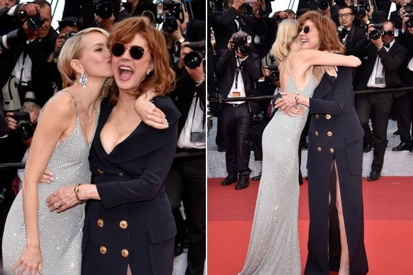 Naomi Watts (in Armani Prive) and Susan Sarandon at the 2016 Cannes Film Festival