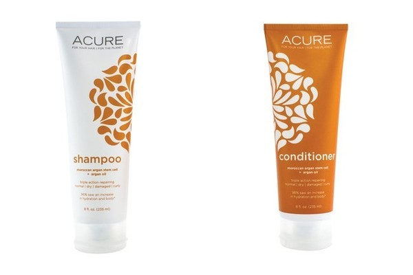 Acure Moroccan Argan Oil + Argan Stem Cell Triple Moisture Shampoo, $10; and Moroccan Argan Oil + Argan Stem Cell Triple Moisture Conditioner, $10; both at Target