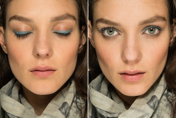 Makeup Idea - Blue Eyeliner Backstage at Anthony Vaccarrello