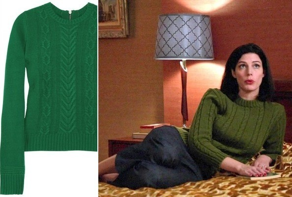 Jessica Pares Green Cable Sweater On Mad Men Tv Fashion Roundup