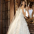 Galina Signature Tafetta Ball Gown with Floral Appliques