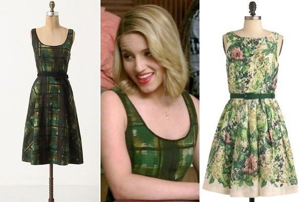 Dianna Agron's Painted Plaid Dress on 'Glee'