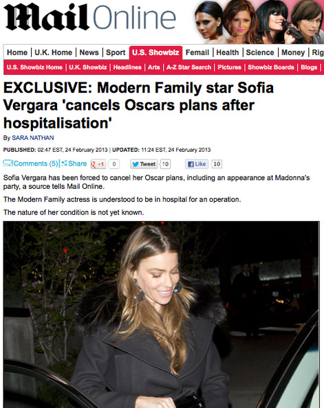 Sofia Vergara Hospitalized - Star Reportedly Will Not Attend Oscars Events