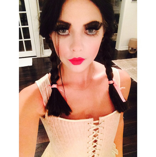 dramatic lashes and pigtails for halloween ashley benson