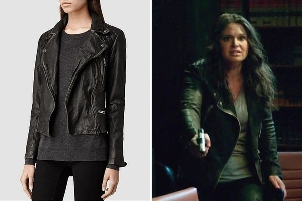Katie Lowes Black Quilted Leather Moto Jacket On Scandal Tv