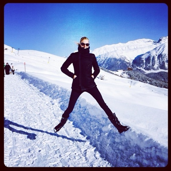 Karolina Kurkova Partook in Some Snow Jumping