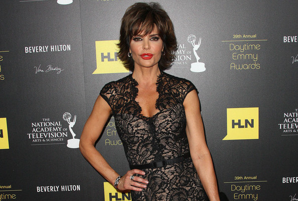 Lisa Rinna in floor-length black lace