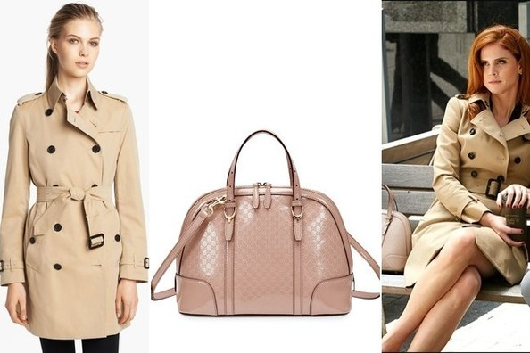 Sarah Rafferty's Beige Trenchcoat and Leather Dome Tote on 'Suits'