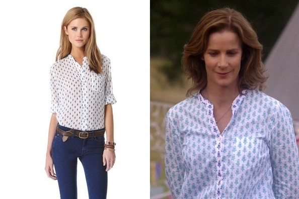 A Blue Floral Button Down Like Rachel Griffiths' on 'Camp'