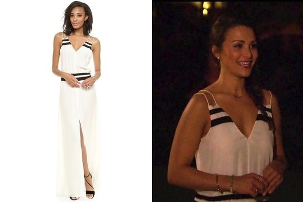 Andi Dorfmans White Maxi Dress With Black Accents On The Bachelorette