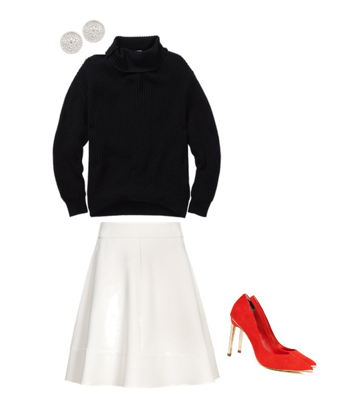 Forevermark Swing Collection Thumbprint Diamond Stud Earrings, $8,100, at Neiman Marcus; Wilfred Montpellier Sweater, $130, at Aritzia; Reiss Cecily Monroe Panel Fit and Flare Skirt, $190, at Reiss; Ted Baker Elvena Metal Pointed Court Shoes, $111, at tedbaker.com