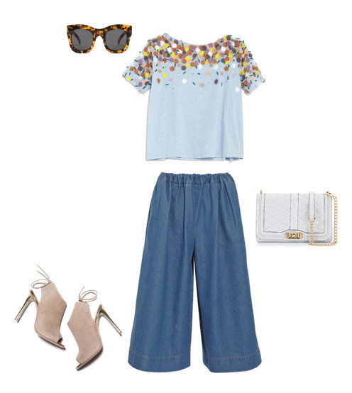 Suno Mini Floral Top, $495, at Otte NY: Stella McCartney Air Force Denim Culottes, $730, at net-a-porter.com; M. Gemi The Brillare, $298, at mgemi.com; Illesteva Hamilton Sunglasses, $290, at thedreslyn.com; Rebecca Minkoff Love Crossbody Bag, $295, at rebeccaminkoff.com