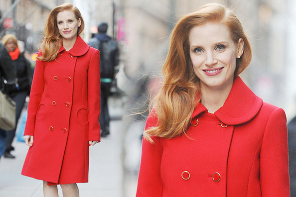 Jessica Chastain's Winter Red Coat