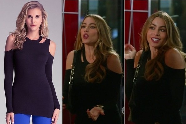 Sofia Vergara's Black Shoulder Cutout Blouse on 'Modern Family'