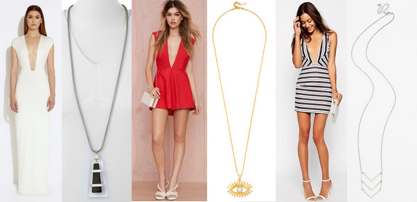 AQ/AQ Crave Deep Plunge Maxi Dress, $136, at aqaq.com; Lafaytte 148 New York Long Lucite Pendant Drop Necklace, $148, at Neiman Marcus; Nasty Gal In Deep Romper, $68, at nastygal.com; BaubleBar Lashed Out Pendant, $38, at baublebar.com; Oh My Love Body-Conscious Dress, $68, at asos.com; BP Triple Chevron Layering Necklace, $16, at Nordstrom