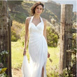 David's Bridal Collection Chiffon Gown with High Slit and Halter Tie