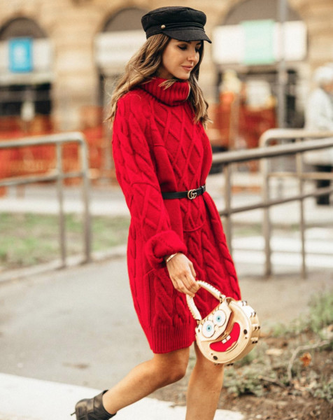 23fab8a5a94 Red Cable Knit Sweater Dress - Comfy Yet Chic Outfits You ll Be ...