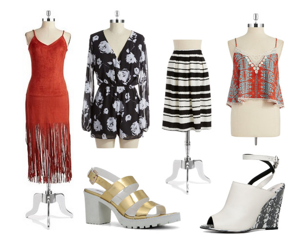 Design Lab Faux Suede Fringe Dress, $88; Floral Short Jumpsuit, $88; Striped Pleated Skirt, $68; Tribal Print Crop Top, $58; Asaywen Metallic Faux Leather Sandals, $69; Yehocheva Peep-Toe Leather Wedges, $109, at Lord & Taylor