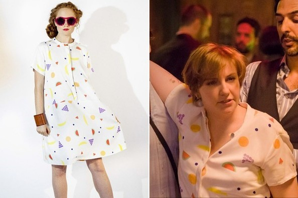 1d75196af09b Lena Dunham's Fruit Print T-Shirt Dress on 'Girls' - TV Fashion ...