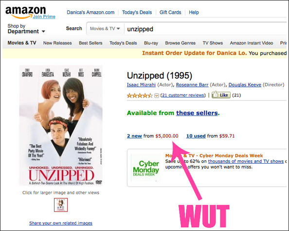 Nowadays a Brand New Copy of 'Unzipped' Goes for $5,000