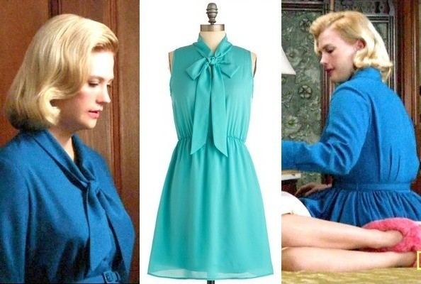 January Jones' Blue Tie-Neck Dress on 'Mad Men'
