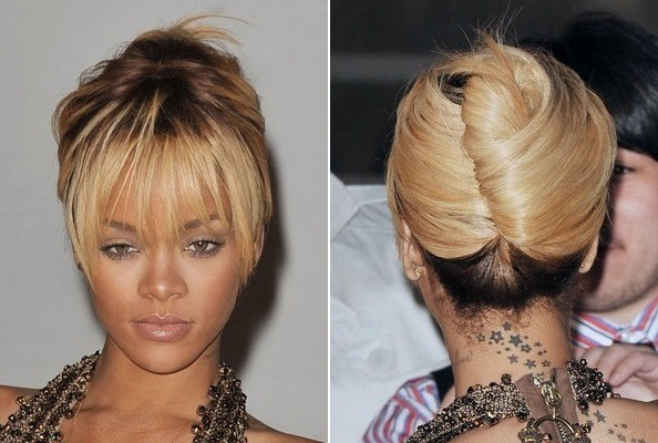 Rihannas french twist with flirty fringe do it yourself how do it yourself how to get hollywoods best hairstyles at home rihannas french twist solutioingenieria Image collections
