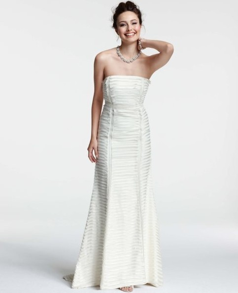 Ann Taylor Silk Charmeuse Tiered Strapless Trumpet Wedding