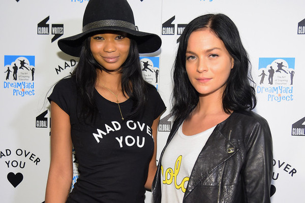 Chanel Iman and Leigh Lezark in Mad Over You tees.