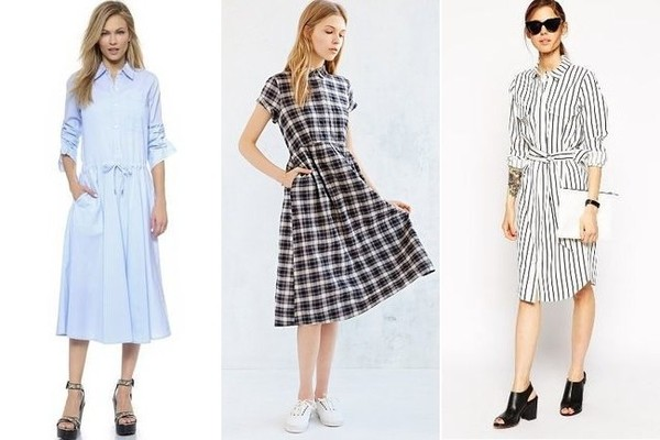 DKNY Pure Shirtdress, $255, at Shopbop; Cooperative Midi Shirt Dress, $79, at Urban Outfitters; ASOS Shirtdress in Pinstripe, $90, at ASOS