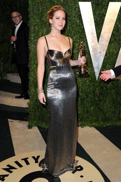 Jennifer Lawrence Wore Calvin Klein at the Vanity Fair Oscars Party 2013