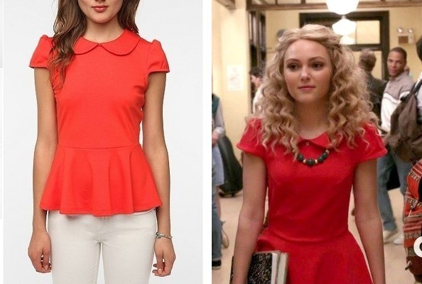 Annasophia Robb's Red Peplum Top on 'The Carrie Diaries'