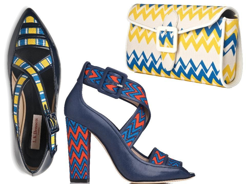 L.K. Bennett Laura Bailey Collection Anna Flat Patent and Canvas Sandal in Multi/Navy, $325; Claudia Canvas Block Heel in Multi/Navy, $425; Bella Canvas Buckle Clutch Bag in Multi/Yellow, $395, at L.K. Bennett