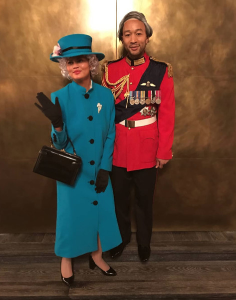 Chrissy Teigen and John Legend as the Queen and King of England